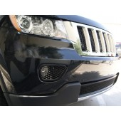 Jeep Grand Cherokee Diamond Cut Mesh-Fog Light Bezel Covers Grille-Insert (Black)