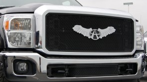 2011 FORD SUPERDUTY F250/F350 Framed Diamond Cut Sport Mesh-Main Grille-Insert (Black)