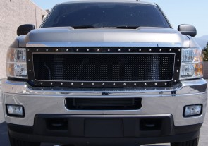 2011-14 Chevy Silverado HD 2500/3500- Black/Stainless Double Framed Grille-