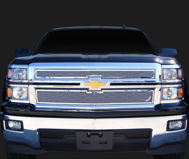 2014 Chevrolet Silverado 1500 2 Piece Framed Wire Mesh- Overlay (Chrome) Grilles done The Right way